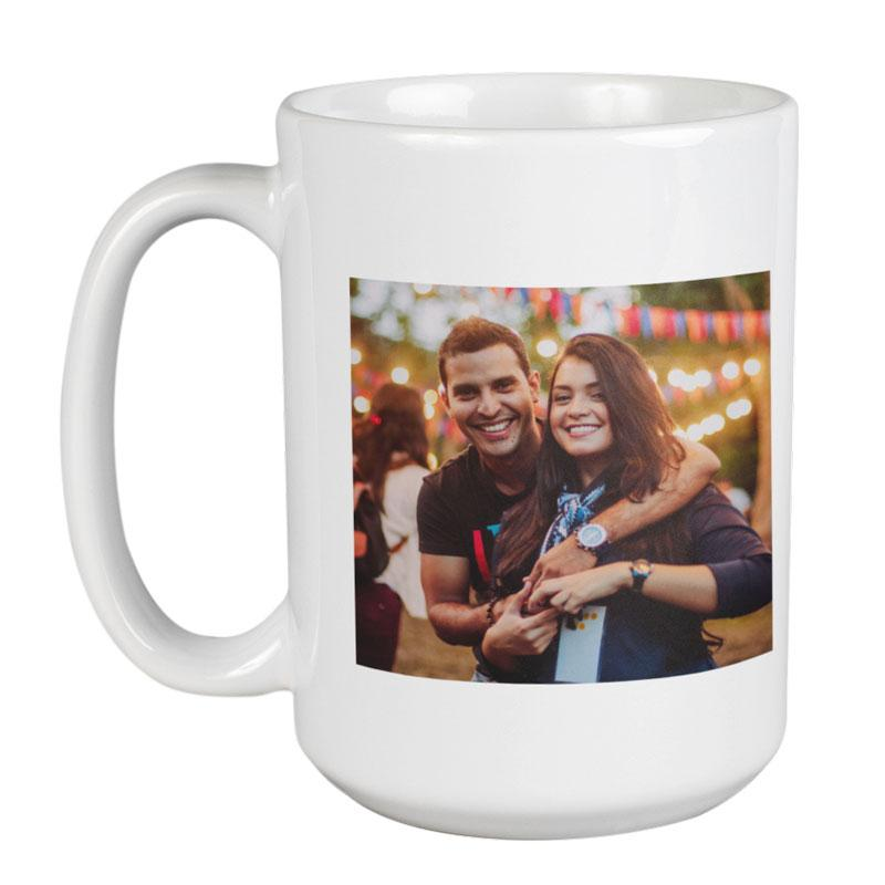 A personalised white large mug with a photo of a couple