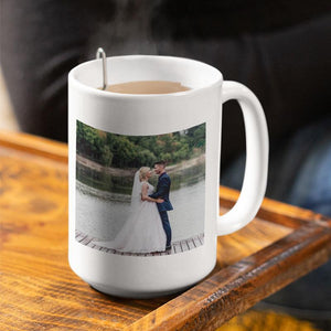A personalised large photo mug with a wedding picture printed onto it