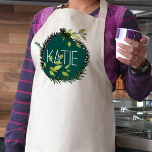 Personalised Printed Leaf Pattern Name Apron