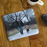Personalised Photo Mousemat in Leather Look Material. The mouse pad has a photo of a father and daughter printed on it.