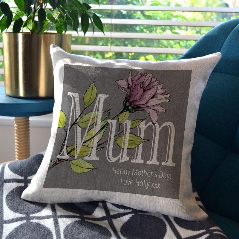 Personalised Mother's Day Grey Floral Cushion
