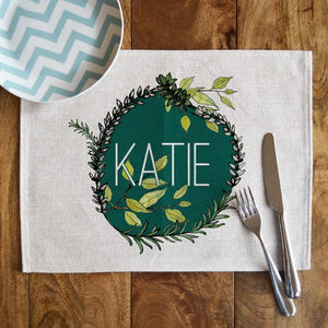 Personalised Linen Leaf Pattern Rectangle Placemat