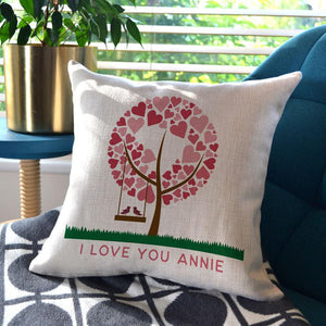 A personalised Valentine's Day cushion made from high quality cream linen
