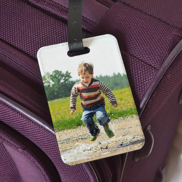 A luggage label personalised with a family photo