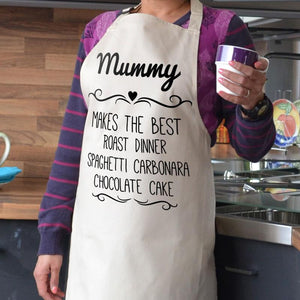 Personalise apron in a natural colour with black lettering
