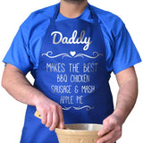 Personalised baking apron in royal blue with white lettering
