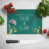 Personalised Engagement Glass Chopping Board Teal Flowers