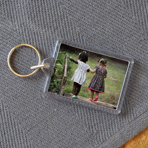 Personalised Medium Rectangular Plastic Photo Keyring