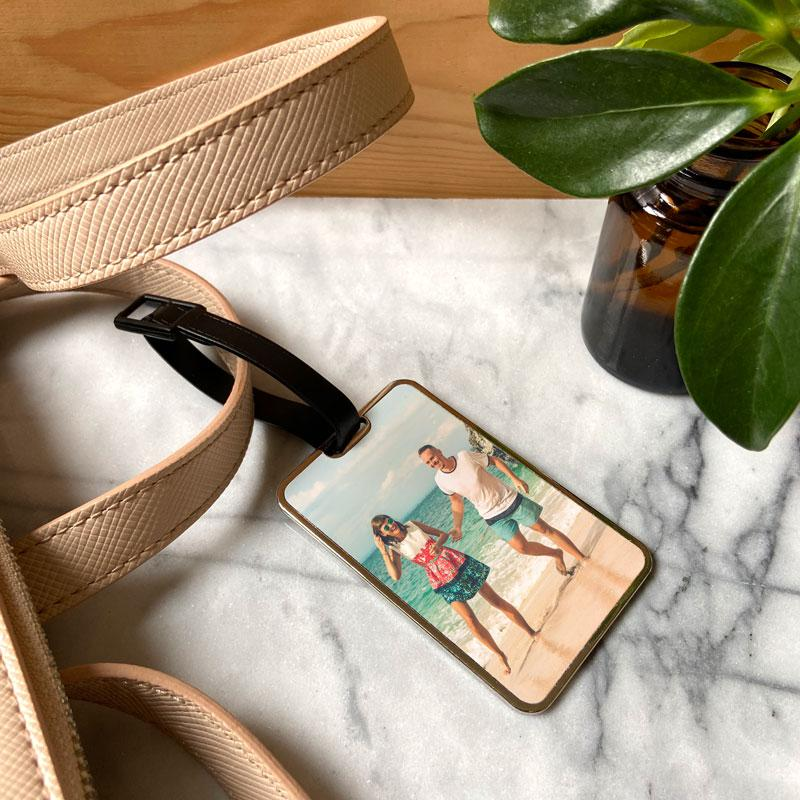 Personalised Photo Luggage Label Metal Suitcase Tag Luggage Label Always Personal