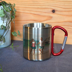 Personalised Stainless Steel Photo Mug with Carabiner Handle - Child & Adult Sizes