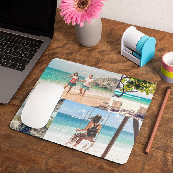 A personalised rectangular mouse mat with 4 holiday photos printed on it.
