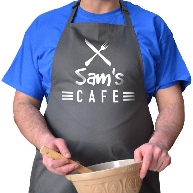 Personalised my cafe apron with knife and fork design