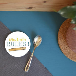 "Personalised ""My Teacher Rules"" Round Coaster"