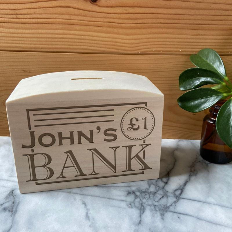 Personalised Children's Money Box Bank Design Solid Wood