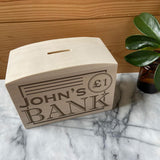 Personalised Children's Money Box Bank Design Solid Wood Money Box Always Personal