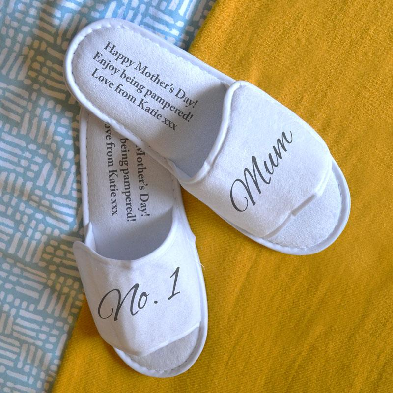 Personalised Spa Slippers Best Mum White Any Message