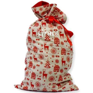 a personalised Christmas sack with a Nordic design. The design is printed in red on a natural hessian background.