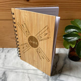 Personalised Eco Friendly Notebook Bamboo Cover Engraved Name A6 Note Book Always Personal