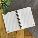 Personalised Note Book Message Bamboo Cover Lined A6