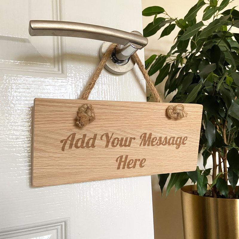 Personalised Engraved Oak Hanging Sign with Hessian Rope