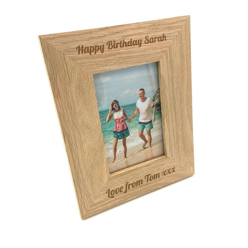 Personalised Oak Photo Frame Engraved Message