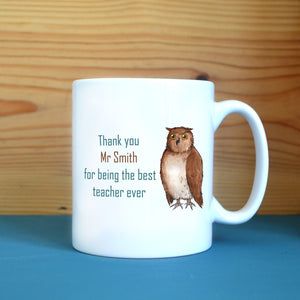 "A personalised white mug with an illustration of an owl and the message ""thank you mr smith for being the best teacher ever"""
