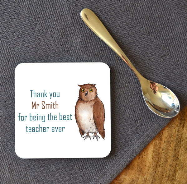 "Personalised Owl ""Thank You"" Square Coaster"