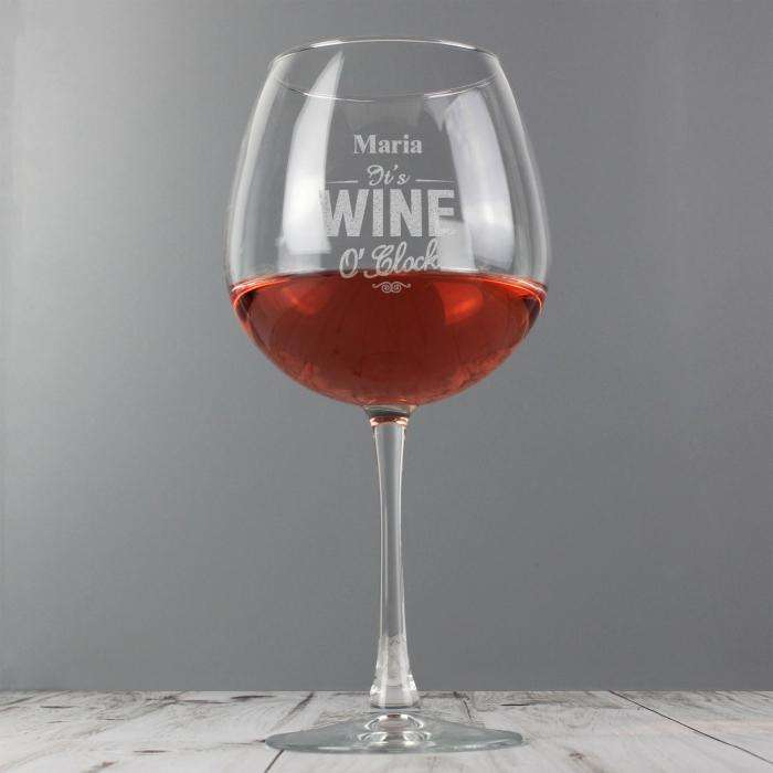 Personalised Wine O'Clock Bottle of Wine Glass Memento