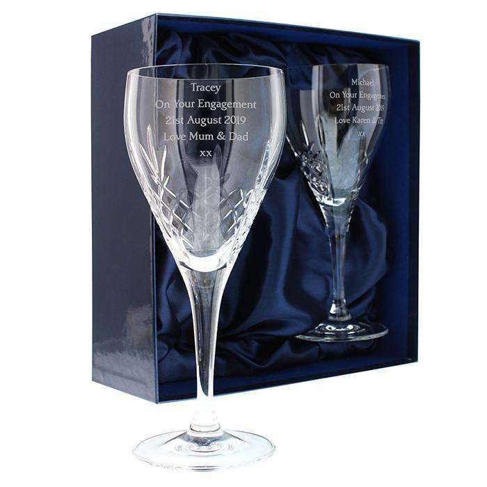 Personalised Pair of Crystal Wine Glasses Memento