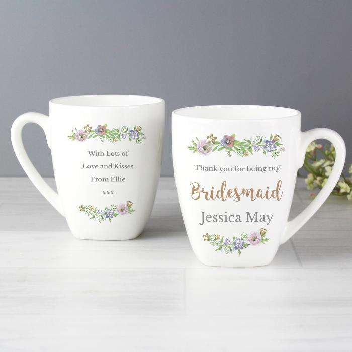 Personalised Floral Watercolour Bridesmaid Wedding Latte Mug