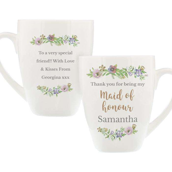 Personalised Floral Watercolour Maid of Honour Wedding Latte Mug Mug Memento