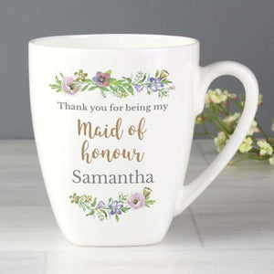 Personalised Floral Watercolour Maid of Honour Wedding Latte Mug