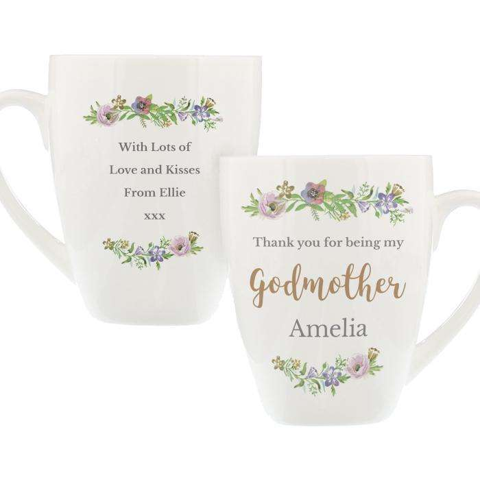 Personalised Floral Watercolour Godmother Latte Mug