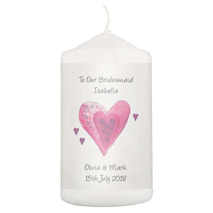 Personalised Hearts Candle Memento
