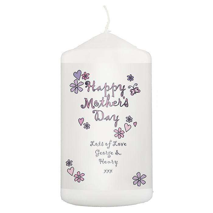 Personalised Flowers and Butterflies Happy Mothers Day Candle Memento