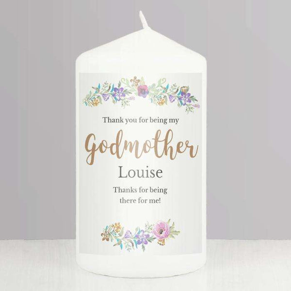 Personalised Floral Watercolour Godmother Pillar Candle