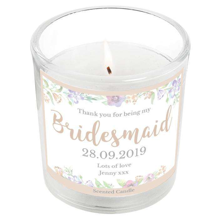 Personalised Floral Watercolour Bridesmaid Wedding Scented Jar Candle Candle Memento
