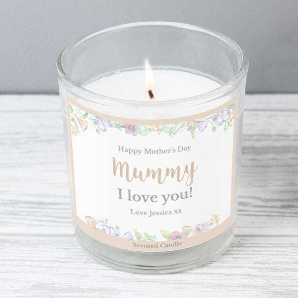 Personalised Floral Watercolour Scented Jar Candle