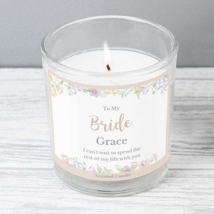 Personalised Floral Watercolour Scented Jar Candle Candle Memento