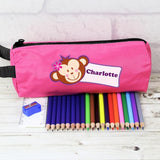 Pink Monkey Pencil Case with Personalised Pencils & Crayons