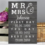 Personalised Mr & Mrs, First Day, Yes Day & Best Day Metal Sign Sign Memento