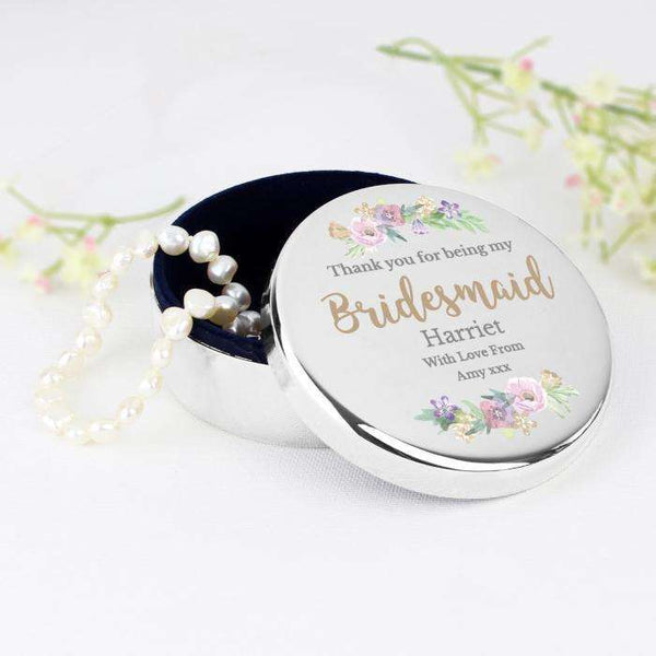 Personalised Floral Watercolour Bridesmaid Wedding Round Trinket Box