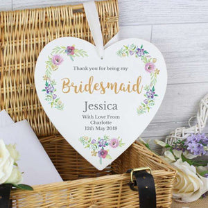 Personalised Floral Watercolour Bridesmaid Wedding Large Wooden Heart Decoration