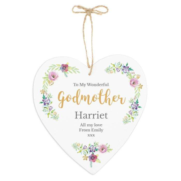 Personalised Floral Watercolour Large Wooden Heart Decoration Decoration Memento