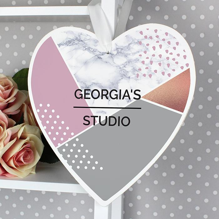 Personalised Geometric 22cm Large Wooden Heart Decoration