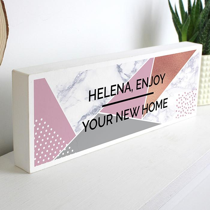 Personalised Geometric Wooden Block Sign Decoration Memento