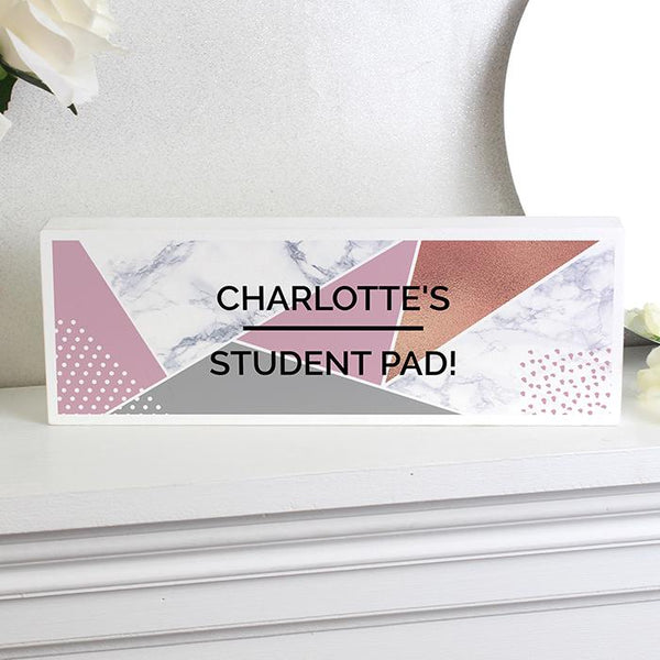 Personalised Geometric Wooden Block Sign