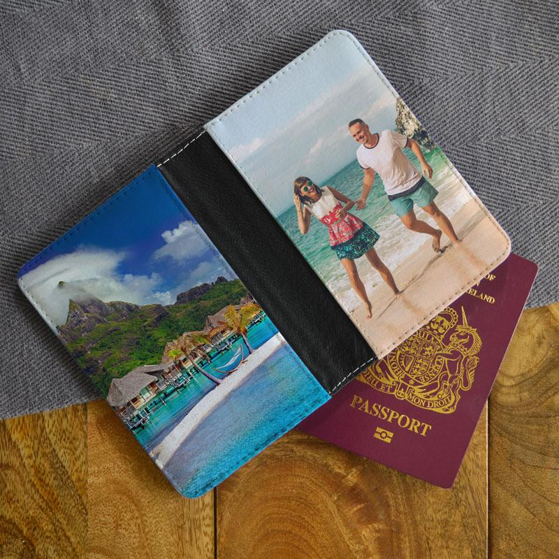 A personalised photo passport holder with a photo of a couple on a beach printed on it