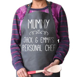 Personalised your personal chef apron in charcoal grey with white lettering