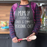 Personalised personal chef apron in charcoal with white print